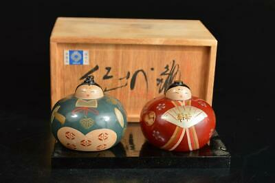 T9431: Japanese Wooden Lacquer ware Hina doll-shaped ORNAMENTS w/signed box