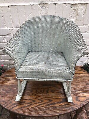 Rare Child's Lloyd-Loom Musical Rocking Chair Pale Green - Vintage
