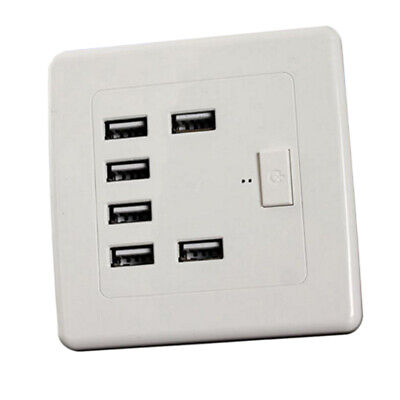 Universal  AC Power Socket 6 USB Port Wall Receptacle Plate Panel Charger