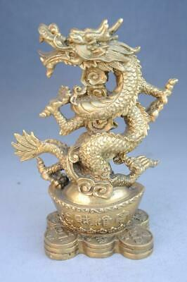 Old  Chinese copper fengshui hand-carved Wealth Yuanbao dragon statue e02