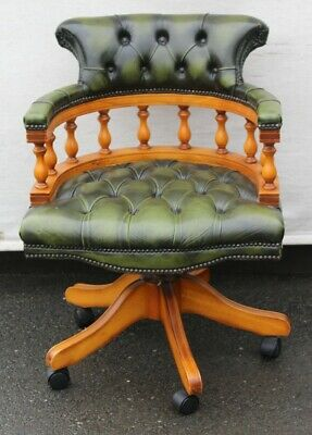 1960's Green Leather Mahogany Captains Office Chair. On castors.