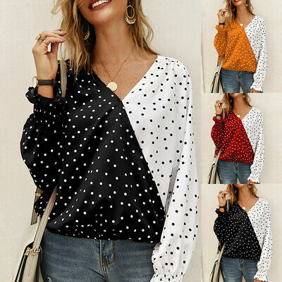 Womens Long Sleeve Blouse Polka Dot Shirt Ladies V-Neck Casual Warp Top Tshirt