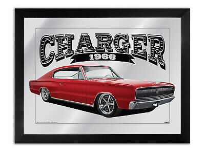 Bar Mirror Artwork Suit Red Dodge Charger 1966 Other Colours Available
