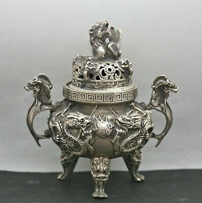 Stunning Antique Chinese Silver Bronze Incense Burner Excellent Condition