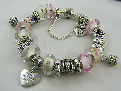 "BEAUTIFUL 925 SILVER STAMPED 20cm EUROPEAN STYLE CHARM BRACELET""MUM'S ONE"" #1716"