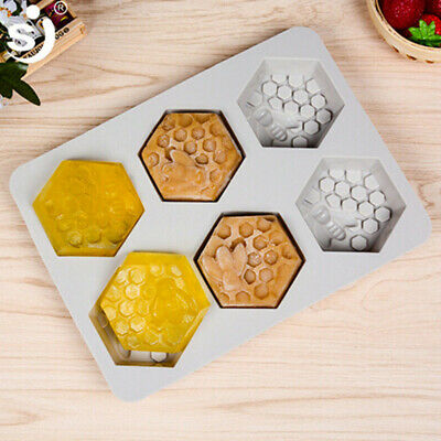 Silicone Honey Bee 6 Hole Mould Soap Resin Clay Wax Mold Handmade Nice #CF7