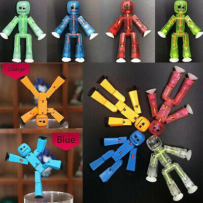 """2pcs Zing Stikbot White /& Clear 3/""""Action Figure Animation Toy Stick Bot Kid Gift"""
