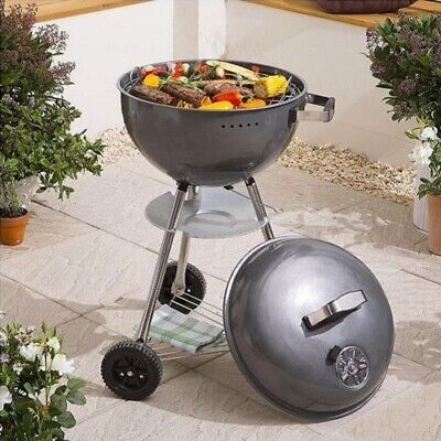 Large Charcoal Kettle Bbq Trolley Barbecue Steel Grill 43cm