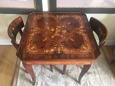 Antique Sorrento Italian Marquetry Inlaid Games Table with Four Matching Chairs