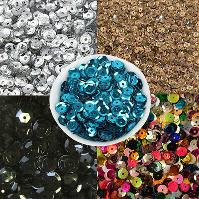 1 Pack Of 20g Sequins - Size: 6mm, Curved Round Sequins - Perforated Beads K5J3