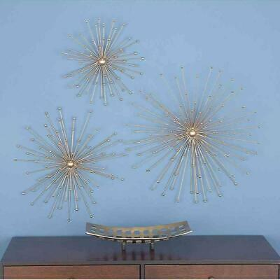 Modern Iron Starbust Sculptures Wall Hanging Decor Metallic Gold Finish Set of 3