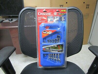 Crescent 7 Pc Metric Reversible Ratcheting Combo Wrench Set Pt #Frrm7 New Style