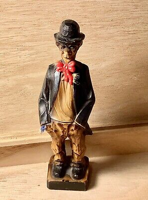Vintage Carved Wooden Figure Man With Red Bow Tie Made in Germany