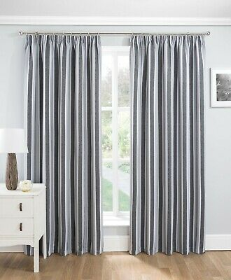 Highgrove Stripe Blockout/Thermal Interwoven Lined Pencil Pleat Curtains Grey