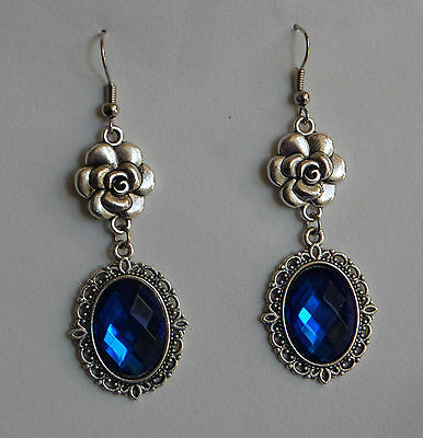 CAMELLIA FILIGREE VICTORIAN STYLE DEEP BLUE SILVER PLATED DROP EARRINGS CFE Hook