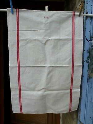 "Antique Vintage French  Linen Monogram "" Lt "" Tea Towel Torchon"