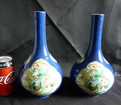 Pair of superb Chinese powder blue & famille verte bottle vases with warriors