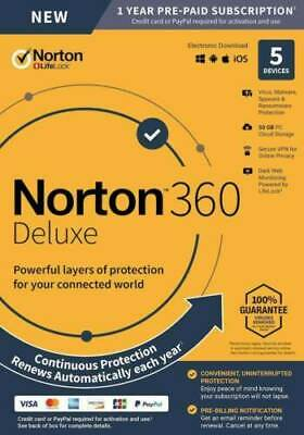 Norton 360 Deluxe (5-Devices) (1-Year Subscription) - Android|Mac|Windows|iOS