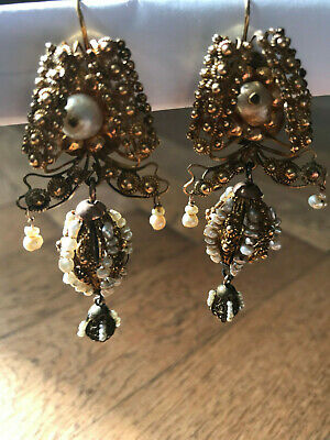 Late 18th Century Sicilian gold ear rings with salt water pearls