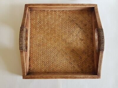 Antique Small Square Oak Serving Tray Rustic Straw Lined String Wound Handles