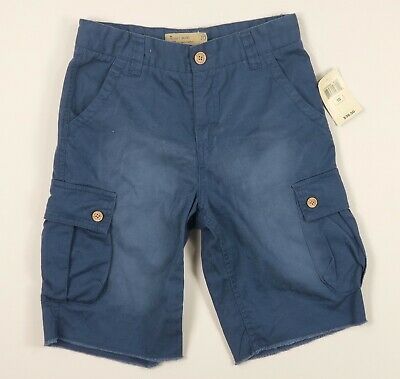 NWT Lucky Brand Blue Cargo Shorts Boys sz 10 distressed long chino $37