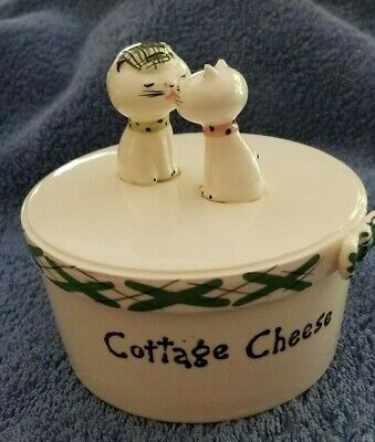 Vintage Howard Holt Cozy Kitten, Kissing, Plaid  Cottage Cheese dish Japan 1958