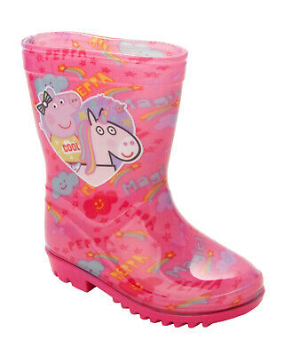 Girls Peppa Pig Unicorn Pink Wellies Wellington Rain Snow Boots Uk Size 5-10