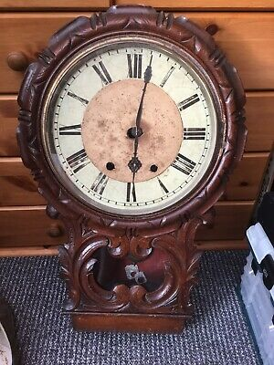 Antique Wall Clock For Spares Or Repairs, VeryVery Old, Nice Project For Someone
