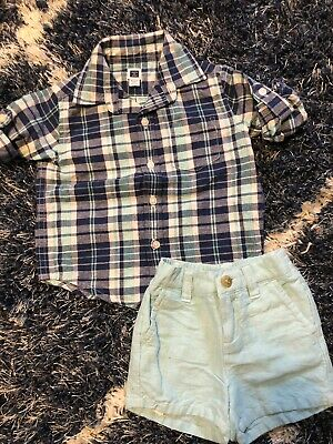 Baby Boy Janie And Jack Button Down And Shorts. Size 6/12 Month