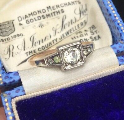 Art Deco 9ct Gold Ring Diamond Paste 1920s Antique Ring