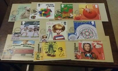 GB 2017 Classic Toys - Ten PHQ Cards + Stamps on Front + Eight Different SHS
