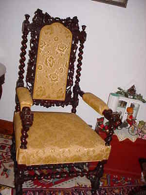 19Th Cenntury Jacobean Style Or Hunt Carved And Upholstered Chair