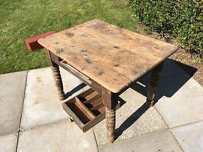 Old Pine Antique Victorian Kitchen Table Scrub Top