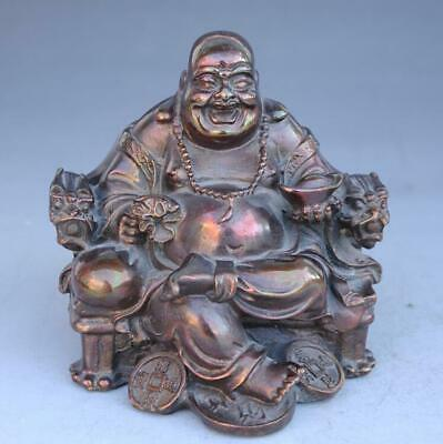 Chinese Copper Seat Dragon Chair Happy Laugh Maitreya Buddha Yunabao Statue e01