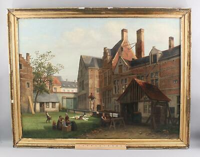 19thC Antique ALBERT DE KEYSER Belgium Village Oil Painting Laundry Wash Day