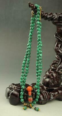 Chinese hand woven delicate natural   Turquoise necklace  a01