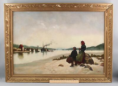 Antique JAMES T BREEN American Genre Oil Painting Steamship Side Wheeler Figures
