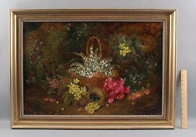 19thC Antique J. Clay English Flower Basket Bird Nest Eggs Stillife Oil Painting