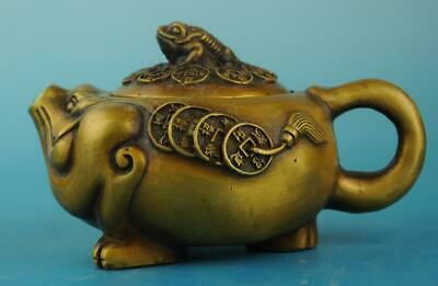 china copper Hand Made statue Toads and Sycee antique teapot /daming mark d02