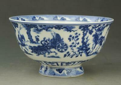 Chinese old porcelain Blue and white People ride horse bowl / qianlong mark b01