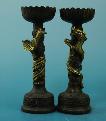 A pair chinese old hand-carved copper gilding longfengs tatue candlestick e02