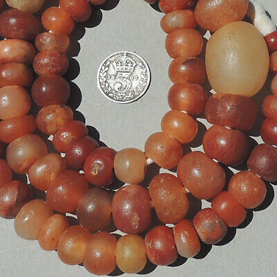 25 inch 63.5 cm strand superb ancient calcite carnelian agate beads mali #4104