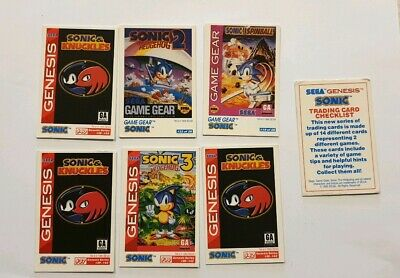Sonic the hedgehog Sega 1995 Game gear cards card genesis tails knuckles cheats