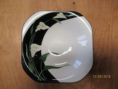 "Sango Quadrille BLACK LILIES 5101 Square Soup Cereal Bowl 7 3/8""     3 available"