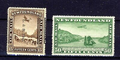 2x Newfoundland MH Airmail stamps #211 Land & Sea Shifted O.P. & C7-50c CV=$105.