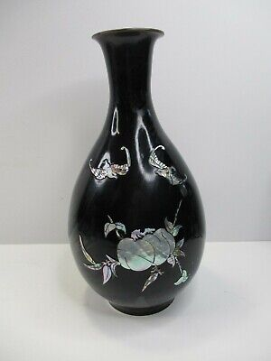Vintage Asian Black Lacquer Ware Inlaid Mother of Pearl Abalone Shell Metal Vase