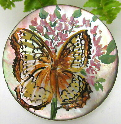 Large Signed Hand Painted Antique Pearl Button W/ Colorful Butterfly B73