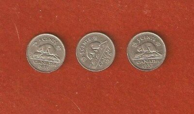 3 King George VI nickels 1937 Dot - 1938 - 1939 Nice Collectable Coins E312