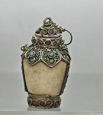 Antique Chinese Bone Carved Snuff Bottle Set w/Silver Alloy Turquoise & Beads