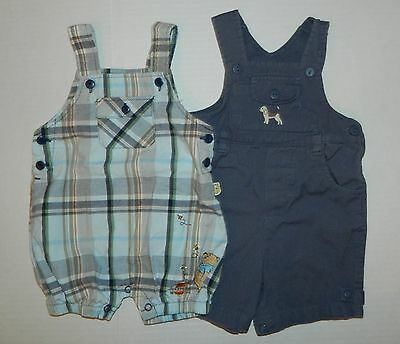 Lot of 2 boys FIRST IMPRESSIONS Dog Short OVERALLS Plaid Disney POOH 3 6 months